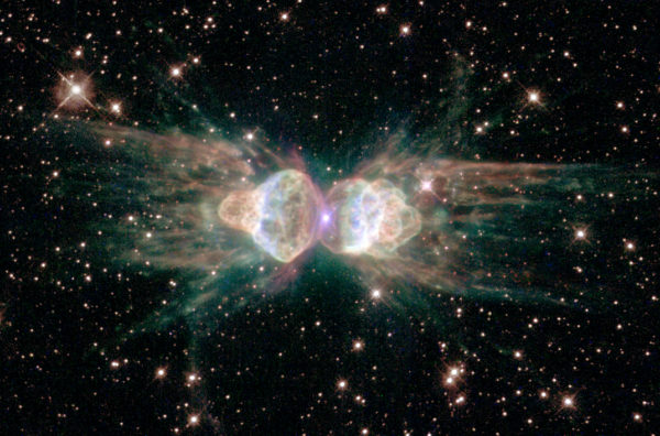 The Ant Nebula, also known as Menzel 3. Image credit: NASA, ESA & the Hubble Heritage Team (STScI/AURA); Acknowledgment: R. Sahai (Jet Propulsion Lab), B. Balick (University of Washington).