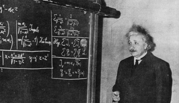 Image credit: Einstein deriving special relativity, 1934, via http://www.relativitycalculator.com/pdfs/einstein_1934_two-blackboard_derivation_of_energy-mass_equivalence.pdf.