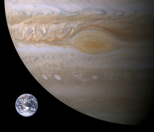 Jupiter's great red spot (from Cassini, imaged in 2000) and Earth (imaged from Apollo 17 in 1972), shown together for size comparison. Image credit: NASA / Brian0918 at English Wikipedia.