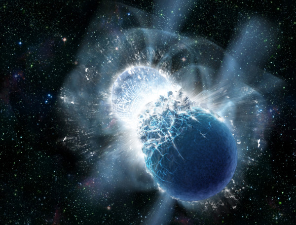 Two neutron stars colliding, which is the primary source of many of the heaviest periodic table elements in the Universe. Image credit: Dana Berry, SkyWorks Digital, Inc.