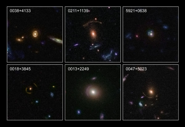 Six examples of the strong gravitational lenses the Hubble Space Telescope discovered and imaged. Image credit: NASA, ESA, C. Faure (Zentrum für Astronomie, University of Heidelberg) and J.P. Kneib (Laboratoire d'Astrophysique de Marseille).