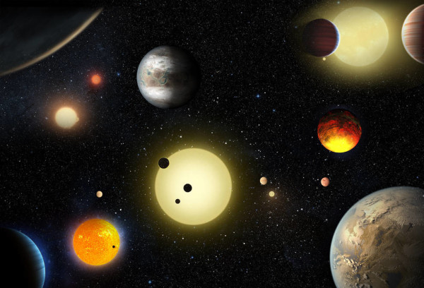 Artist's depiction of the worlds found by Kepler thus far. Image credit: NASA/W. Stenzel.