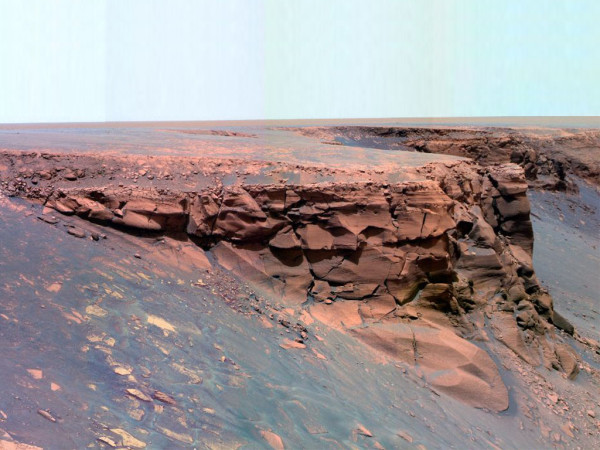 Image credit: NASA / JPL / Mars Exploration Rover, Opportunity. Of Victoria Crater in false color.