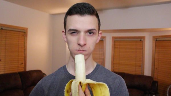 Tony Mintz eating a banana, from his YouTube channel at https://www.youtube.com/watch?v=1AOPlkM77qA.