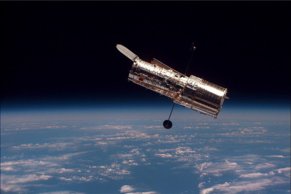 The Hubble Space Telescope, as imaged during the last and final servicing mission. Image credit: NASA.