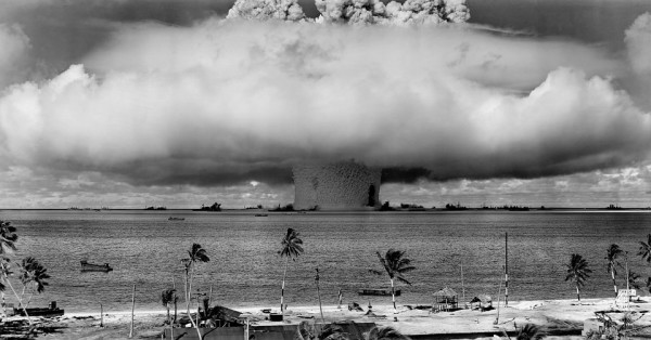 Public domain image of an underwater nuclear weapons detonation test during the Cold War.