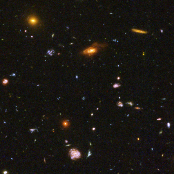 A selection of some of the most distant galaxies in the observable Universe, from the Hubble Ultra Deep Field. Image credit: NASA, ESA, and N. Pirzkal (European Space Agency/STScI).