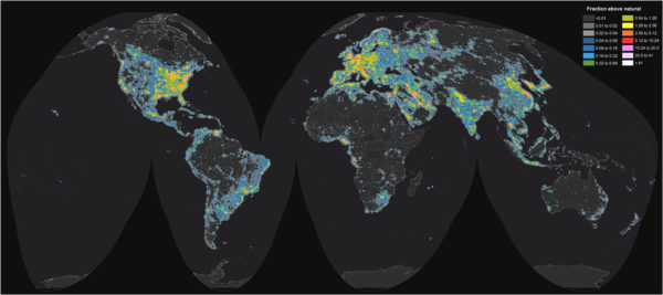 "World map of current light pollution. Image credit: F. Falchi et al., ""The new world atlas of artificial night sky brightness,"" Science Advances, 10 Jun 2016."