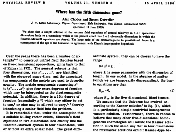 Image credit: Chodos and Detweiler (1980), retrieved from http://www.physics.ufl.edu/~det/1980%20Chodos%20Det%20Where%20has%20the%20fifth%20dimension%20gone%20prd21-2167.pdf.