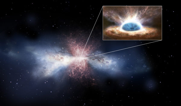 This artist's rendering shows a galaxy being cleared of interstellar gas, the building blocks of new stars. Image credit: ESA/ATG Medialab.