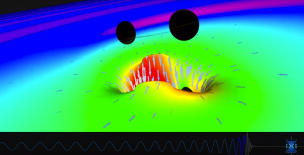 Still from a merging black hole simulation created by the SXS (Simulating eXtreme Spacetimes) Project (http://www.black-holes.org). Image credit: LIGO Lab Caltech : MIT.