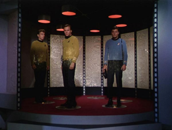 Three members of the Star Trek crew beaming down off the ship. Image credit: CBS Photo Archive/Getty Images.