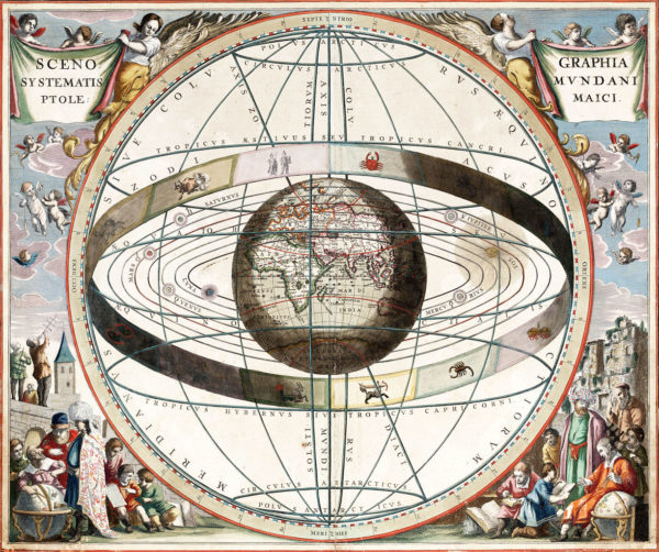Chart showing signs of the zodiac and the solar system with world at centre. From Andreas Cellarius Harmonia Macrocosmica, 1660/61. Image credit: Loon, J. van (Johannes), ca. 1611-1686.
