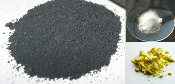 The three main ingredients in black powder (gunpowder) are charcoal (activated carbon), sulfur and potassium nitrate. Image credit: Wikimedia Commons user Ravedave under c.c.-by-2.5 (for the carbon); public domain photos for the sulfur and potassium nitrate.