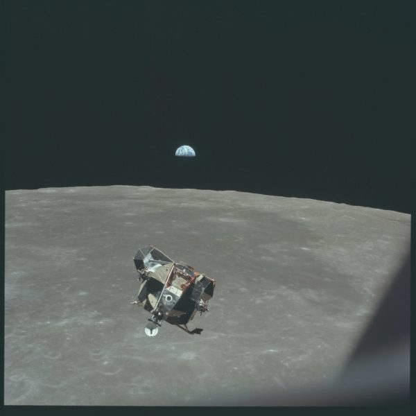 The returning Lunar Module, with astronauts Armstrong and Aldrin inside. Michael Collins is the only human not contained in this photo. Image credit: NASA/Apollo 11.