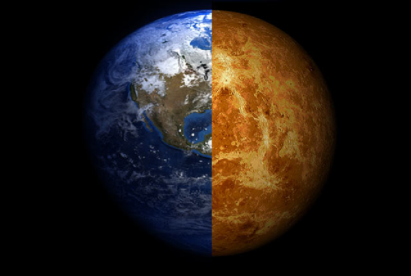 A composite image of Venus and Earth. Image credit: Arie Wilson Passwaters/Rice University.