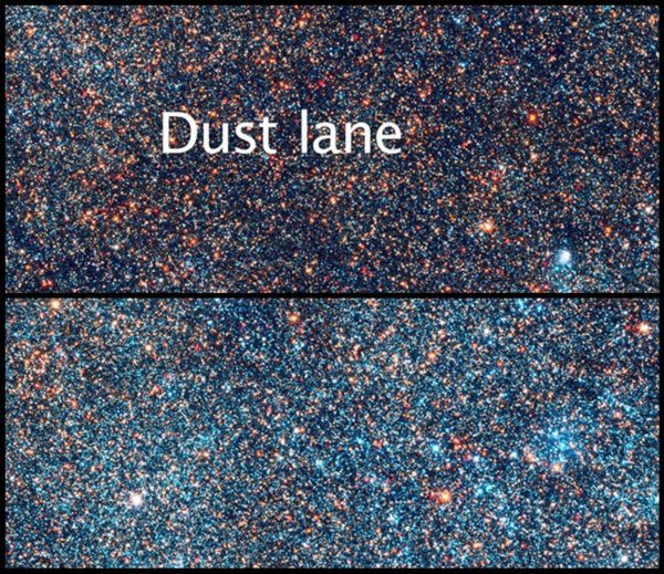 The stars visible in the Andromeda galaxy, in a dust-rich region and a dust-poor region. Images credit: Illustration Credit: NASA, ESA, and Z. Levay (STScI/AURA); Science Credit: NASA, ESA, J. Dalcanton, B.F. Williams, and L.C. Johnson (University of Washington), and the PHAT team, of a dusty region (top) and a relatively dust-free region (bottom).