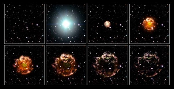 An animation sequence of the 17th century supernova in the constellation of Cassiopeia. Image credit: NASA, ESA, and the Hubble Heritage STScI/AURA)-ESA/Hubble Collaboration. Acknowledgement: Robert A. Fesen (Dartmouth College, USA) and James Long (ESA/Hubble).