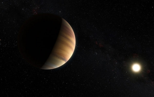An artist's impression of the exoplanet 51 Pegasi b, the first exoplanet found around a normal-type star. Image credit: ESO/M. Kornmesser/Nick Risinger (skysurvey.org).