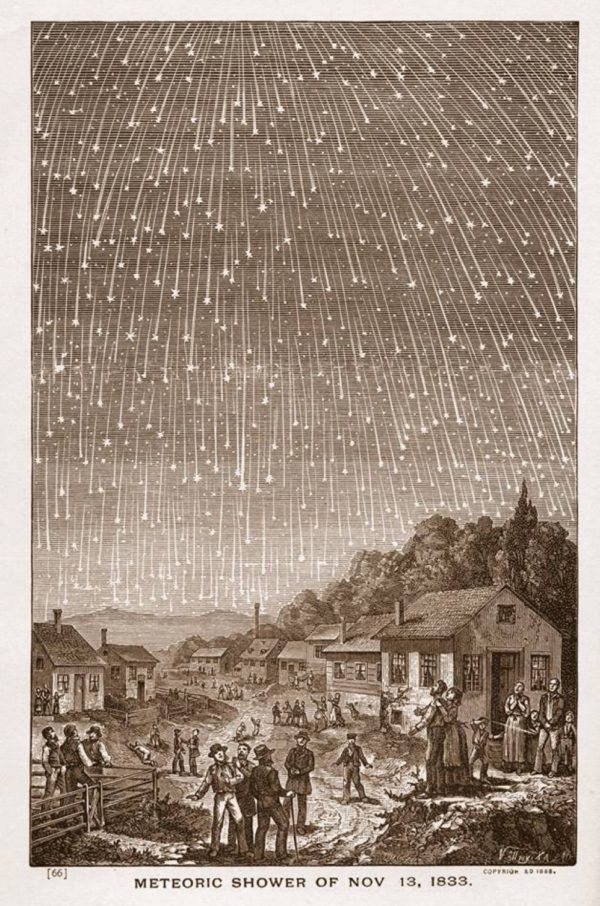 The great meteor storm of 1833. This storm repeats roughly every 33 years. Image credit: Adolf Vollmy, engraving from 1889, public domain.
