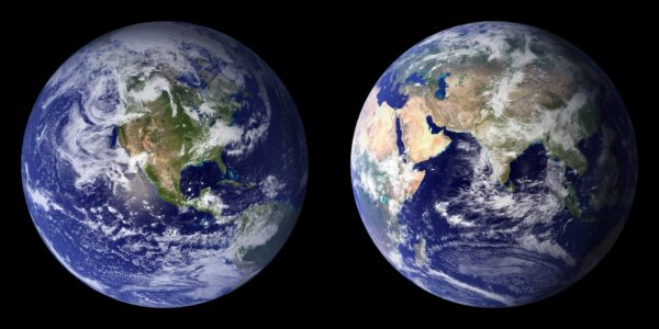 The 2001-2002 composite images of the Blue Marble, constructed with NASA's Moderate Resolution Imaging Spectroradiometer (MODIS) data.