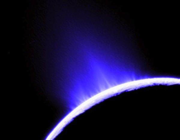 This is a false-color image of jets (blue areas) in the southern hemisphere of Enceladus taken with the Cassini spacecraft narrow-angle camera on Nov. 27, 2005. Image credit: NASA/JPL/Space Science Institute.