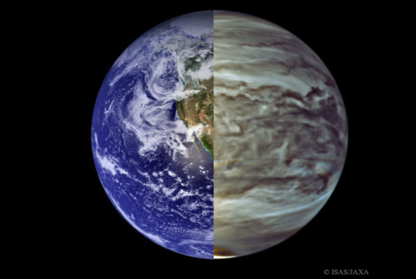 The Earth (L) in visible light, compared with Venus (R) in infrared light. While Earth's reflectivity will vary over time, Venus' will remain constant. Image credit: NASA/MODIS (L), ISIS/JAXA (R), stitching by E. Siegel.