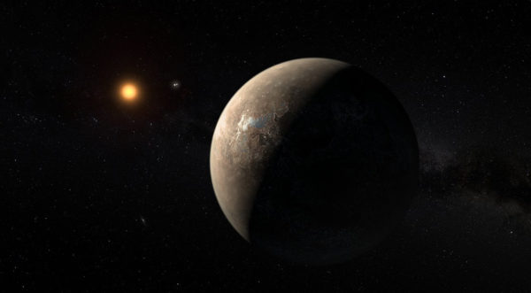 An artist's rendition of Proxima b orbiting Proxima Centauri. Image credit: ESO/M. Kornmesser.