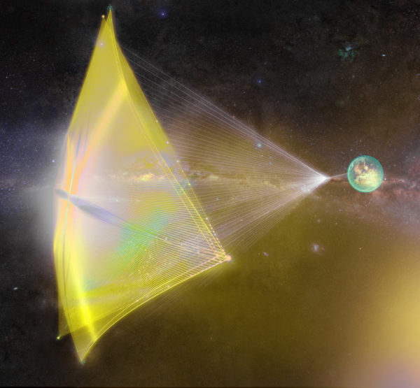 "If you don't mind your spacecraft payload being the size of a microchip, a laser sail could get you up to 20% the speed of light. Image credit: Breakthrough Starshot, of the laser sail concept for a ""starchip"" spaceship."