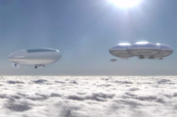 In a world where the oceans have boiled and the world is entirely shrouded in clouds, living above the cloudtops may be the only habitable location. Image credit: NASA Langley Research Center; concept art.