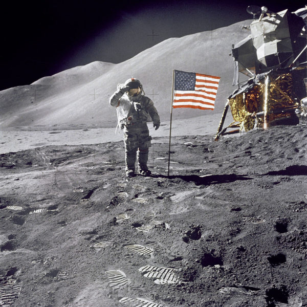 Astronaut David Scott salutes the American flag during the Apollo 15 mission. Image credit: NASA.