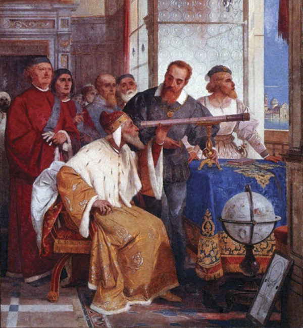 The Bertini fresco of Galileo Galilei showing the Doge of Venice how to use the telescope, 1858.