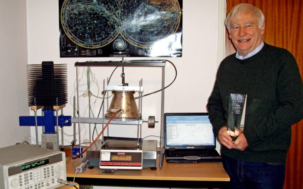 Inventor Roger Shawyer with a prototype of his EMdrive. Image credit: Roger Shawyer, Satellite Propulsion Research Ltd.