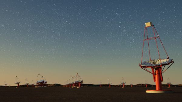 An artist's concept for the conceptual design of the Cherenkov Telescope Array. Image credit: G. Pérez, IAC.