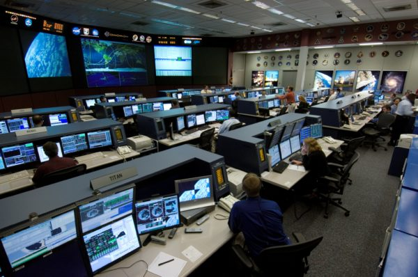 Flight control room 1 in NASA's Johnson Space Center in Houston, TX. This room is where ISS mission control is, and the image dates from 2006. Image credit: NASA.