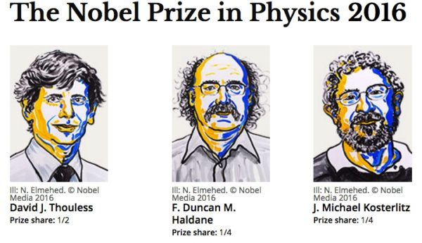 "The Nobel Prize in physics for 2016 was awarded to David J. Thouless, F. Duncan M. Haldane and J. Michael Kosterlitz, ""for theoretical discoveries of topological phase transitions and topological phases of matter"". Image credit: N. Elmehed. © Nobel Media 2016."