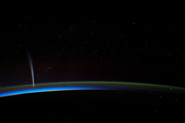 Comet Lovejoy, as seen from the International Space Station, poses no threat to Earth. Image credit: NASA / ISS.