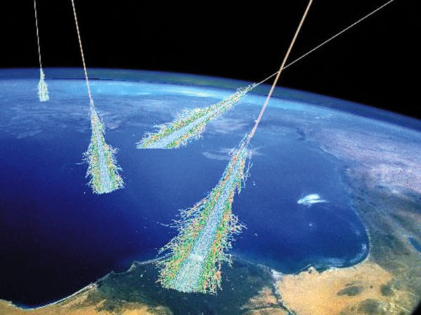 Cosmic rays shower particles by striking protons and atoms in the atmosphere, but they also emit light due to Cherenkov radiation. Image credit: Simon Swordy (U. Chicago), NASA.