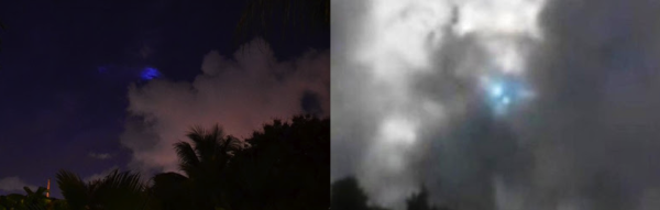 "The ""blue light"" phenomenon photographed in two different location. Courtesy of this insane website: http://www.educatinghumanity.com/2013/08/blue-light-ufo-miami-florida.html."