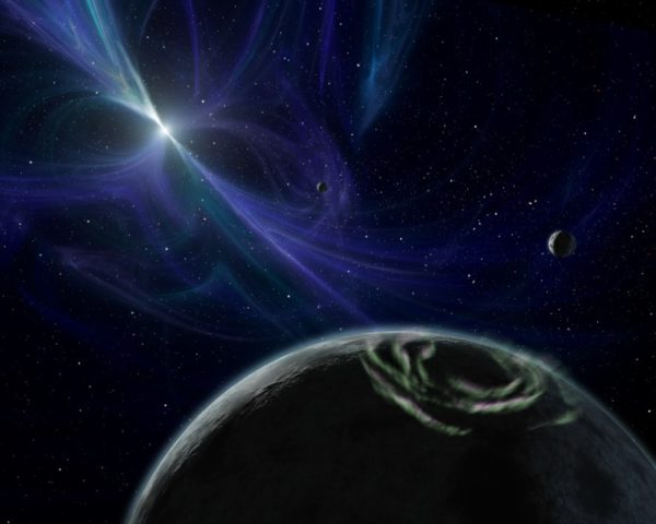 Artist's conception of worlds around PSR 1257+12, the first system (discovered 1992) with verified extrasolar planets. Pulsar systems can have planets, but they themselves are not indicative of aliens. Illustration credit: NASA/JPL-Caltech/R. Hurt (SSC).