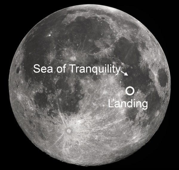 The Apollo 11 landing site, as you'd see it on the full Moon. Image credit: Wikimedia Commons user Soerfm.