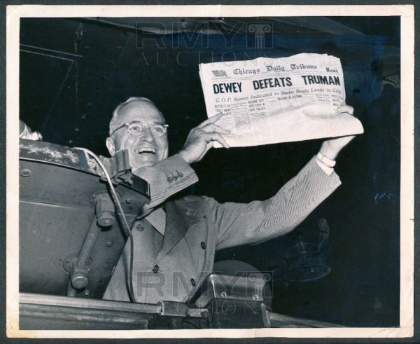 Truman holding up a copy of the infamous Chicago Daily Tribune after the 1948 election. Image credit: flickr user A Meyers 91 of the Frank Cancellare original, via https://www.flickr.com/photos/85635025@N04/12894913705 under cc-by-2.0.