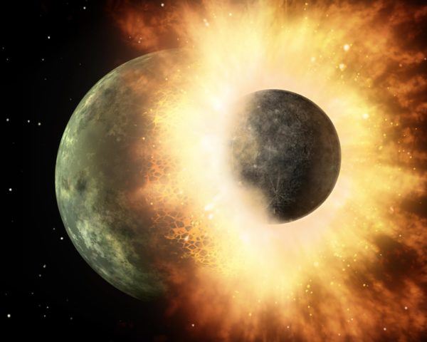 The giant impact hypothesis states that a Mars-sized body collided with early Earth, with the debris that doesn't fall back to Earth forming the Moon. Image credit: NASA/JPL-Caltech.
