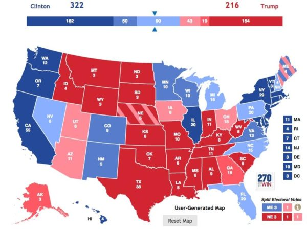 The final pre-election predictions from Larry Sabato / University of Virginia Center for Politics. Image credit: screenshot from 270towin at http://www.270towin.com/maps/crystal-ball-electoral-college-ratings.