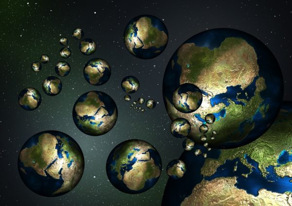 "A representation of the different parallel ""worlds"" that might exist in other pockets of the multiverse. Image credit: public domain, retrieved from https://pixabay.com/en/globe-earth-country-continents-73397/."