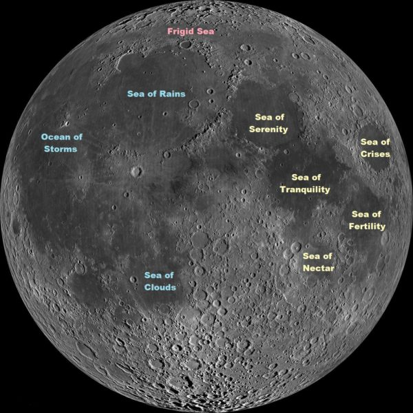 The maria -- or seas -- of the Moon's surface visible on the near site. The sea of tranquility (Mare Tranquillitas) was the site of Apollo 11's landing. Image credit: NASA/GSFC/Arizona State University, annotations by Stardate / The University of Texas McDonald Observatory.