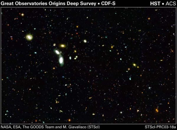 A deep field of distant galaxies, which are all receding from us and getting ever-closer to unreachable. Some of them have already crossed that threshold. Image credit: NASA, ESA, the GOODS Team and M. Giavalisco (STScI).