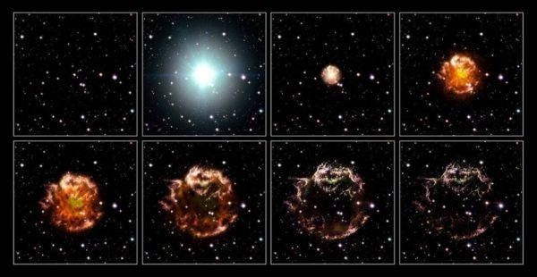 An animation sequence of the 17th century supernova in the constellation of Cassiopeia. Surrounding material plus continued emission of EM radiation both play a role in the remnant's continued illumination. Image credit: NASA, ESA, and the Hubble Heritage STScI/AURA)-ESA/Hubble Collaboration. Acknowledgement: Robert A. Fesen (Dartmouth College, USA) and James Long (ESA/Hubble).