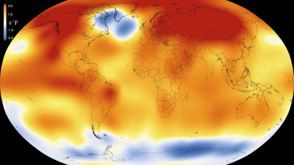 The global temperature anomaly for the year 2015, the hottest year on record until 2016 ends and breaks it. Image credit: NSA/GSFC/Scientific Visualization Studio.