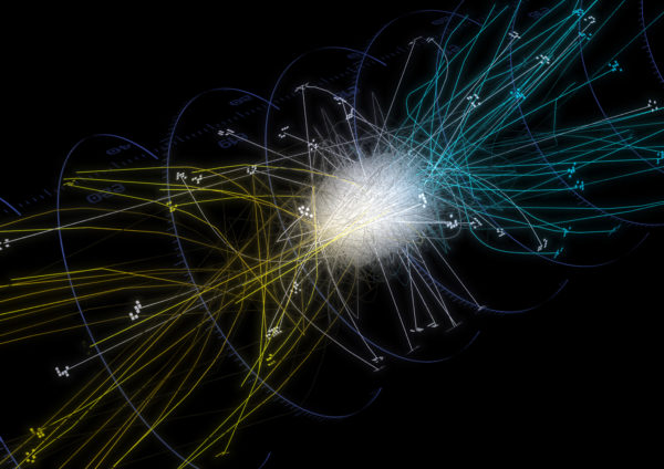Trajectories of antihydrogen atoms from the ALPHA experiment. (Photo courtesy of Chukman So/University of California, Berkeley)